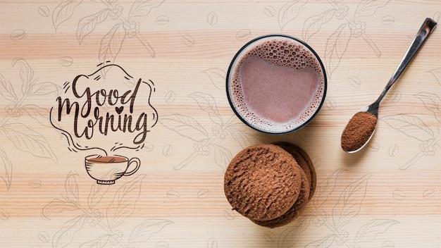 Vue de dessus du lait au cacao sur table
