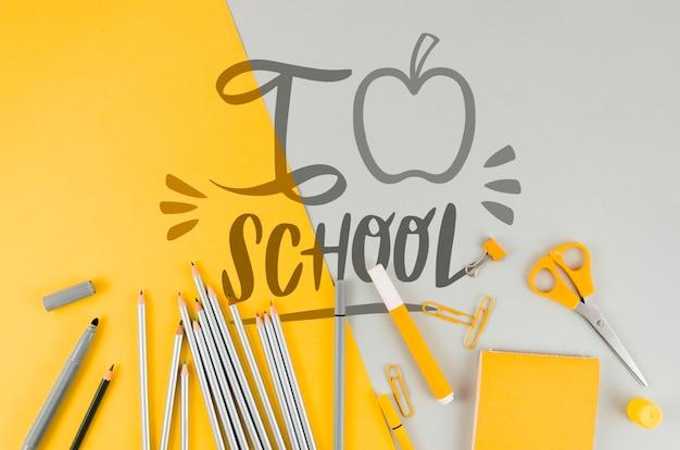 Vue de dessus à l'école avec fond coloré