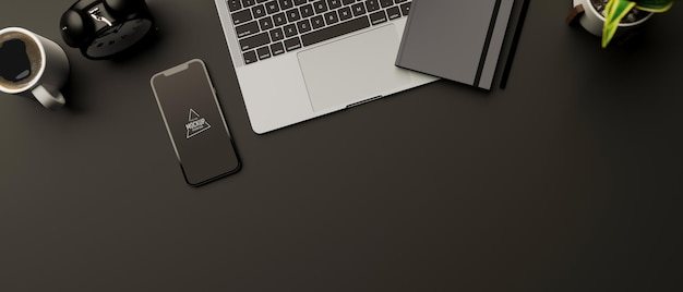 Vue de dessus de l'espace de travail de rendu 3d avec maquette de smartphone