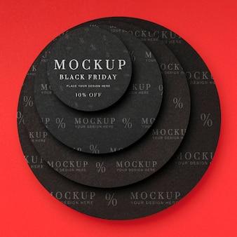 Vue de dessus des formes circulaires du vendredi noir maquette