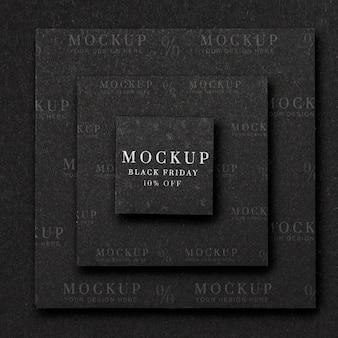 Vue de dessus des formes en couches carrées du vendredi noir maquette