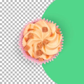 Vue de dessus des gâteaux au chocolat isolés