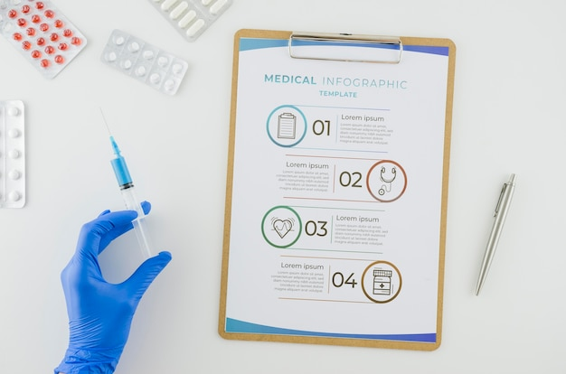 Vue de dessus infographie médicale avec maquette