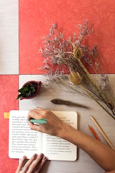 Vue de dessus jardinier prenant des notes au studio