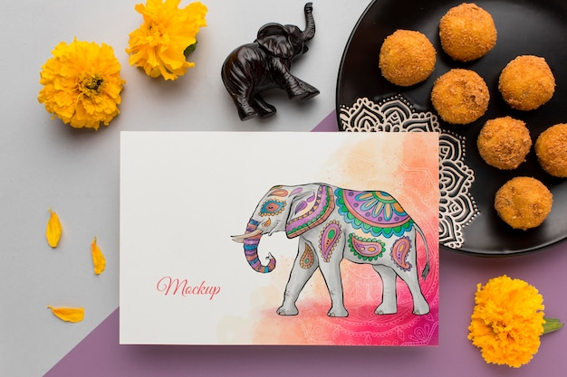 Vue de dessus joyeux festival de diwali maquette avec une cuisine traditionnelle