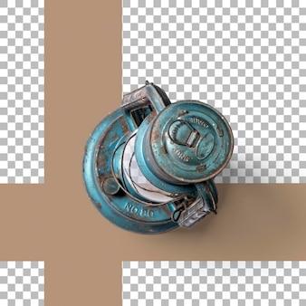 Vue de dessus lanterne vintage bleu isolé