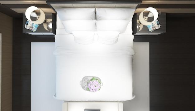 Vue de dessus lit blanc