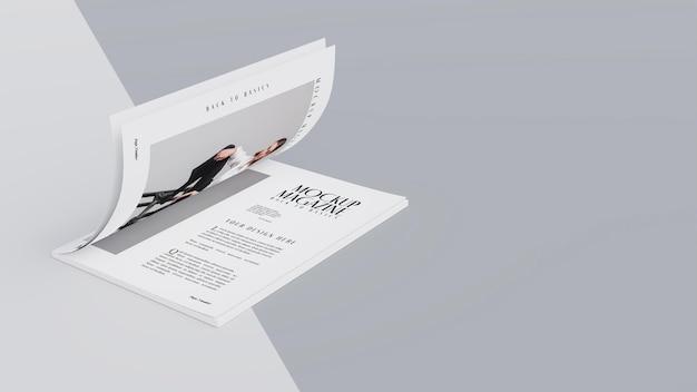 Vue de dessus sur la maquette de conception de magazine ouvert