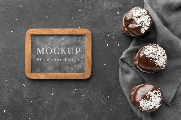 Vue de dessus de la maquette de délicieux concept de boulangerie