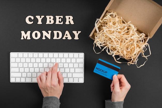 Vue de dessus de la maquette du concept cyber lundi
