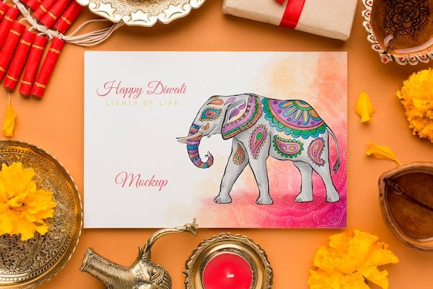 Vue de dessus maquette du festival de diwali heureux
