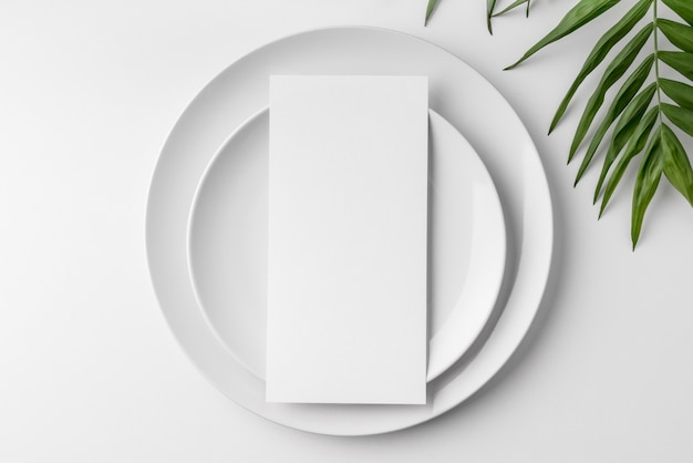 Vue de dessus de la maquette du menu de printemps sur des assiettes avec des feuilles