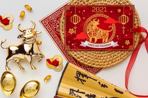 Vue de dessus de la maquette du nouvel an chinois