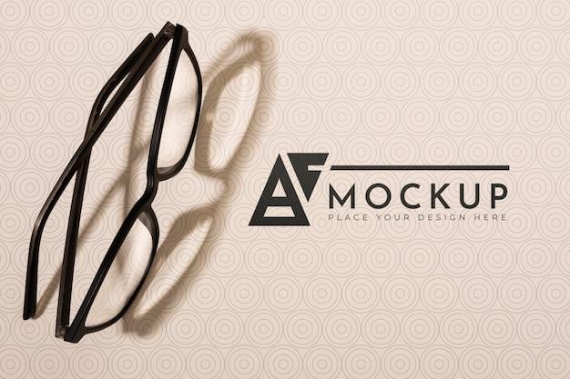 Vue de dessus de la maquette de lunettes de vue