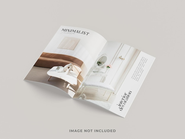 Vue de dessus de maquette de magazine ou de brochure
