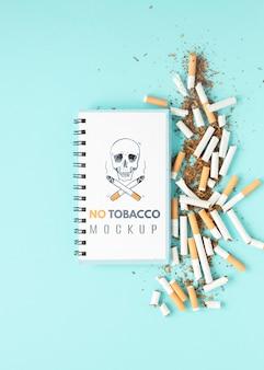 Vue de dessus de maquette non fumeur