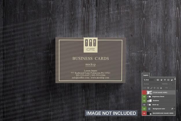 Vue de dessus de la maquette de pile de cartes de visite
