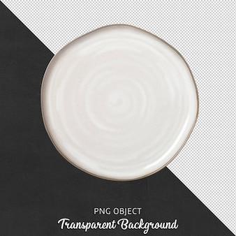 Vue de dessus de la maquette de plaque ronde blanche asymétrique