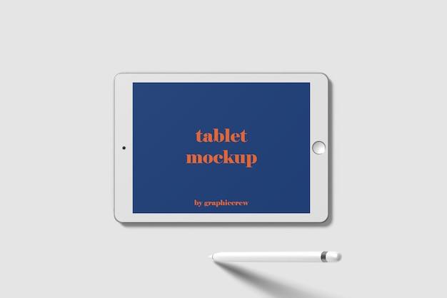 Vue de dessus de maquette de tablette horizontale