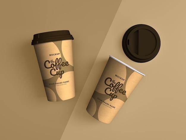 Vue de dessus sur la maquette de tasse à café à emporter