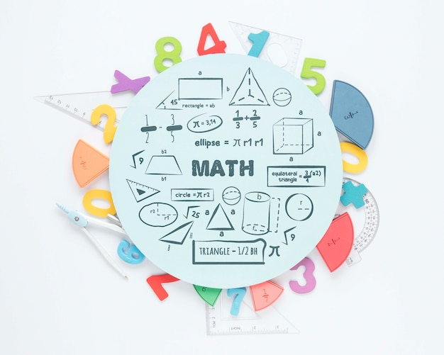 Vue de dessus des nombres et des règles pour les mathématiques