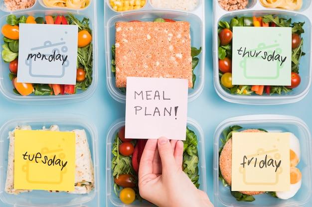 Vue de dessus de l'organisation de la planification des repas