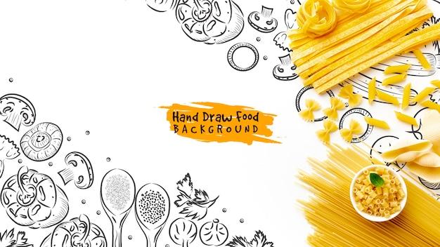 Vue de dessus des pâtes alimentaires non cuites sur fond dessiné à la main