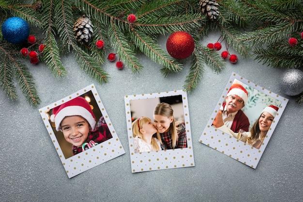 Vue de dessus des photos de famille avec des feuilles de pin