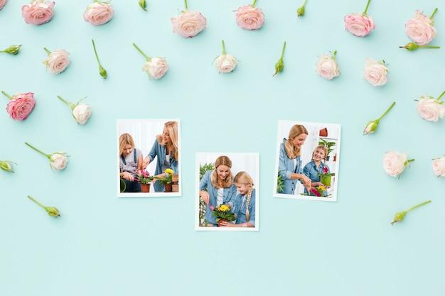 Vue de dessus des photos avec des roses de printemps