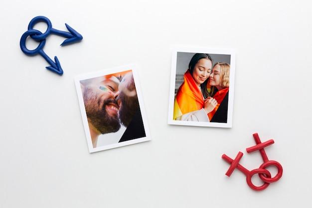 Vue de dessus des photos avec des signes de genre pour la fierté