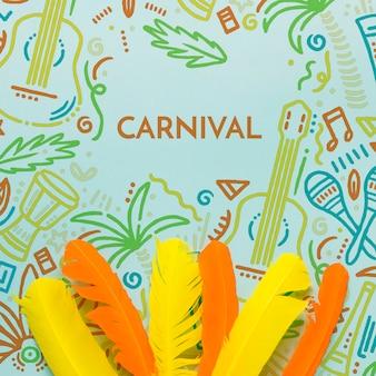 Vue de dessus des plumes de carnaval colorées