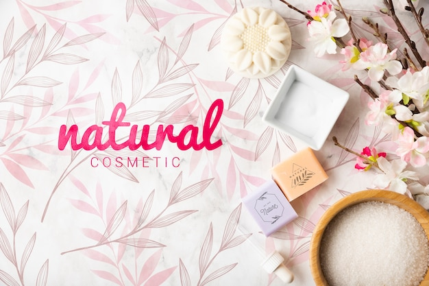 Vue de dessus des produits cosmétiques naturels