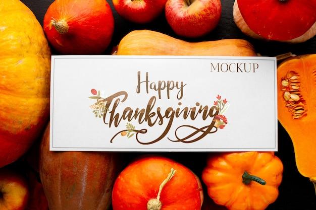 Vue de dessus récolte de thanksgiving biologique