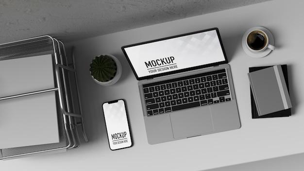 Vue de dessus de rendu 3d de l'espace de travail avec ordinateur portable