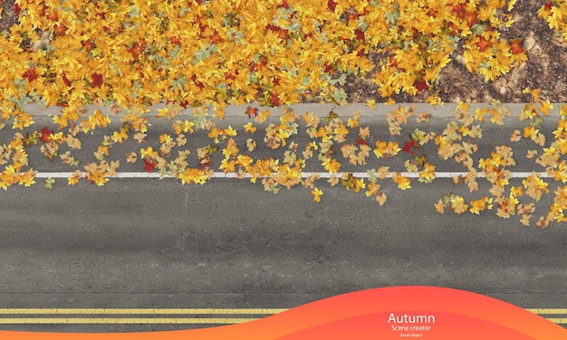 Vue de dessus de la route d'automne avec des feuilles qui tombent feuilles d'automne