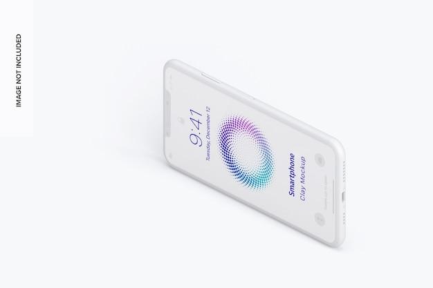Vue droite de la maquette de smartphone en argile isométrique