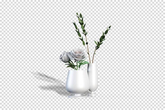 Vue de face bouquet de fleurs dans un vase en rendu 3d