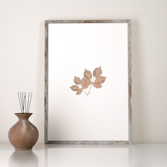 Vue de face de la décoration du cadre avec vase