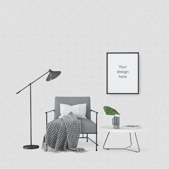 Vue de face du cadre de la maquette avec chaise et lampe
