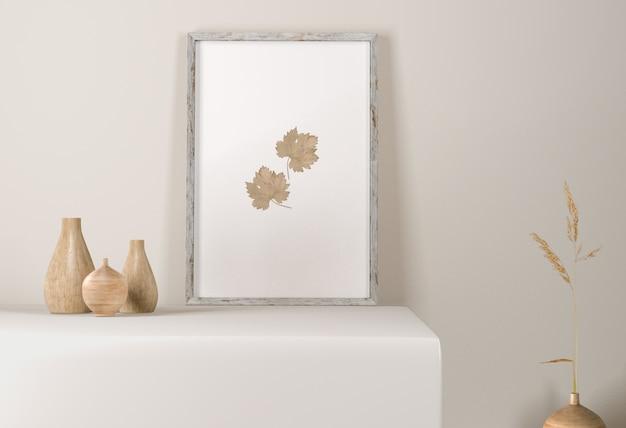 Vue de face du cadre avec des vases en surface