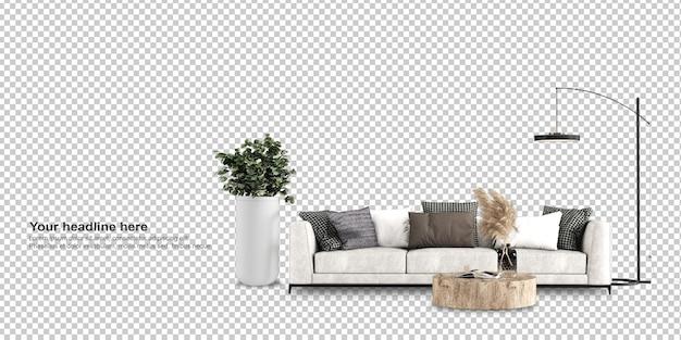 Vue de face du canapé en rendu 3d
