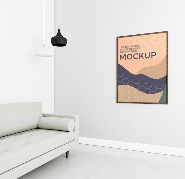 Vue de face de la maison confortable avec maquette de cadre
