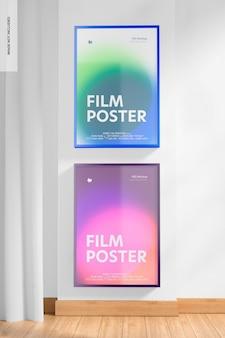 Vue de face de maquette d'affiches de film