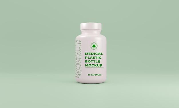 Vue de face de la maquette de bouteille en plastique médicale premium psd