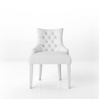 Vue de face de la maquette du fauteuil rembourré blanc