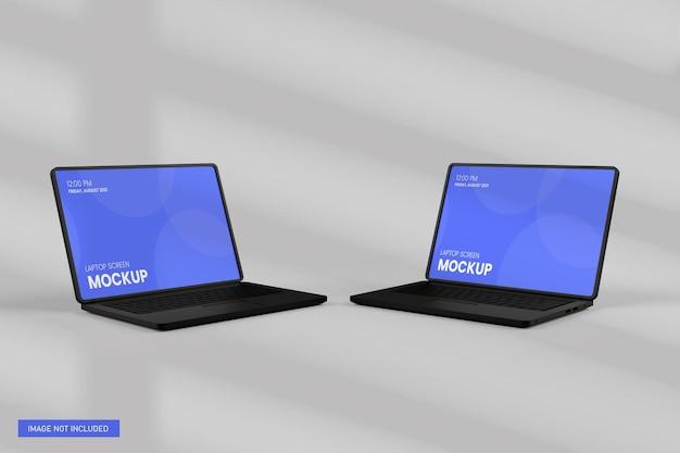 Vue de face de la maquette d'écran d'ordinateur portable en rendu 3d