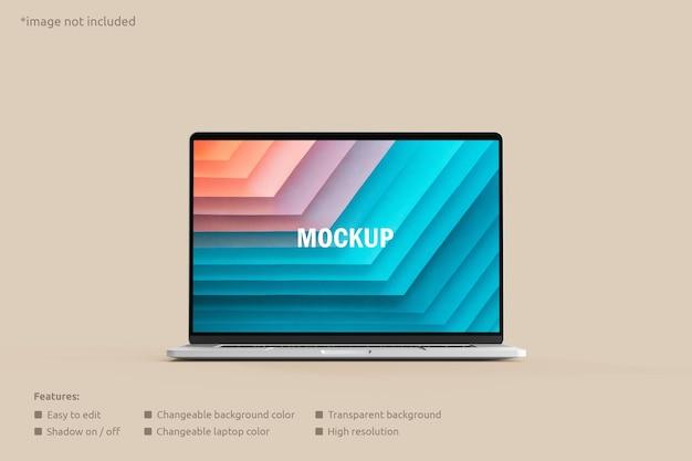 Vue de face de la maquette d'écran d'ordinateur portable