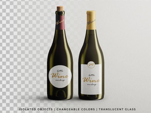 Vue de face de maquette d'emballage de bouteilles de vin personnalisable isolée