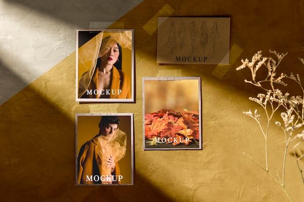 Vue de face de la maquette de moodboard automne