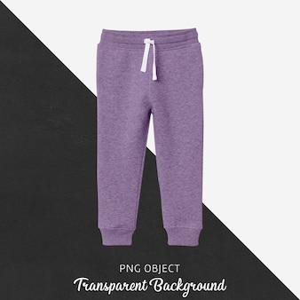 Vue de face de la maquette de pantalon de jogging violet